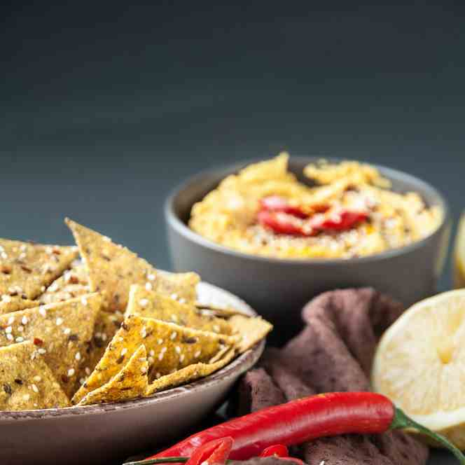 Spicy Crackers with Turmeric Hummus