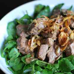 Vietnamese Shaking Beef over Watercress