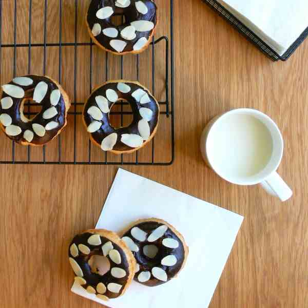 Chocolate glazed and almond donuts