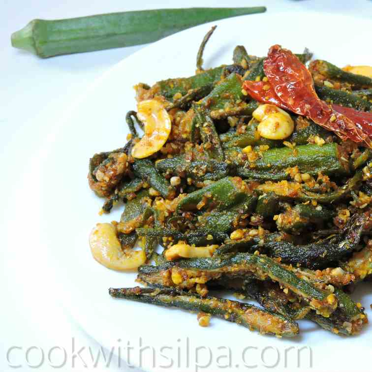 Stuffed bhindi with peanuts